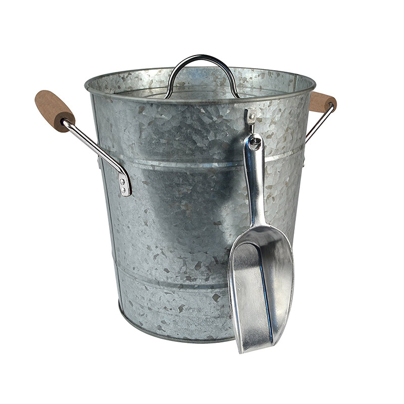 Ice Bucket with Scoop, Galvanized, Metal