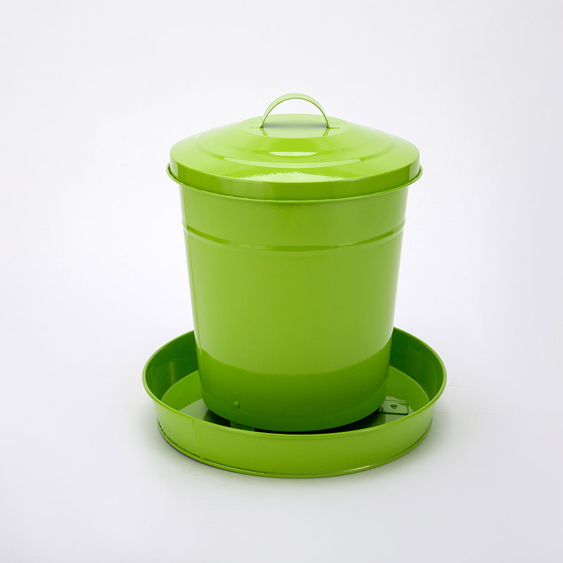 4kgs Glossy painted metal chicken feeder with lid