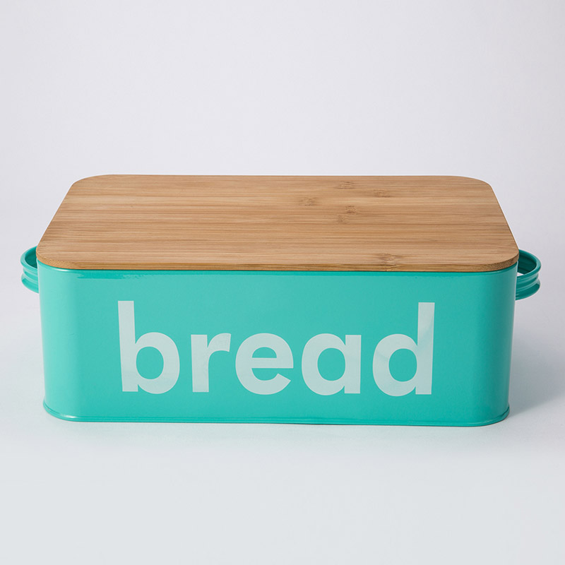 Kitchen Bread Bin retangle Box Food Storage Loaf Container Wooden Lid