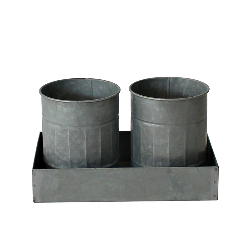 Galvanized Flower Pot and Tray Set