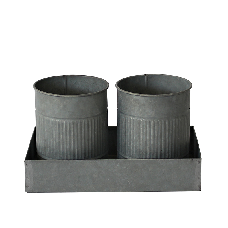 Galvanized Metal 2 pieces Plant Pots In Tray