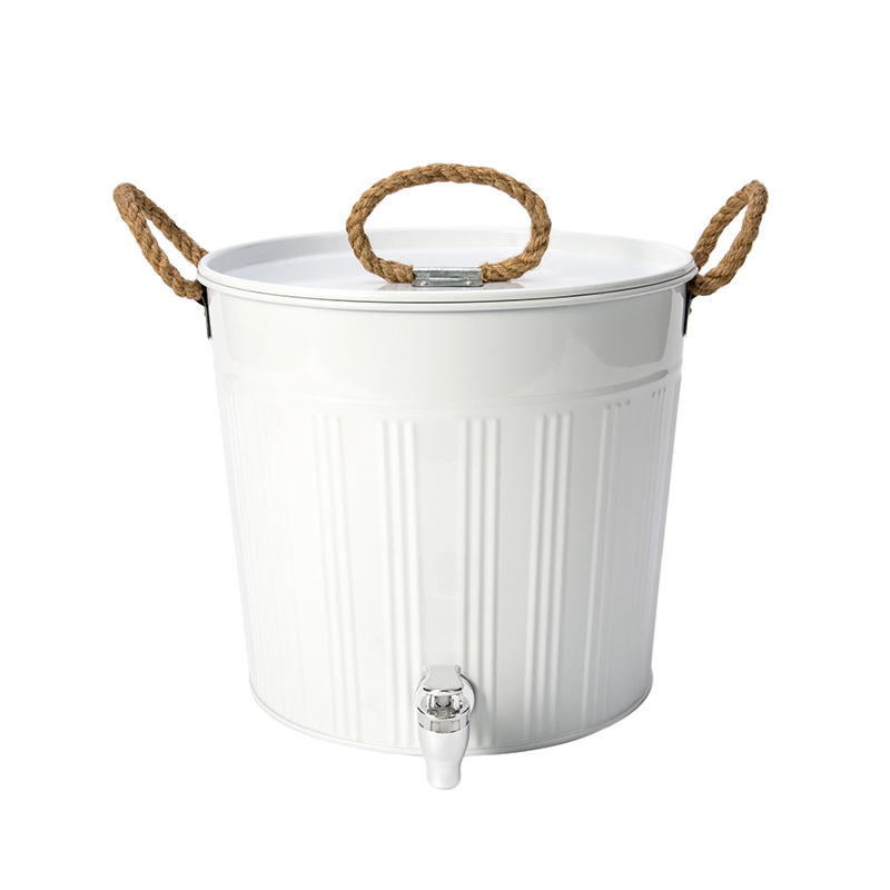 White beer metal ice bucket with wood handle
