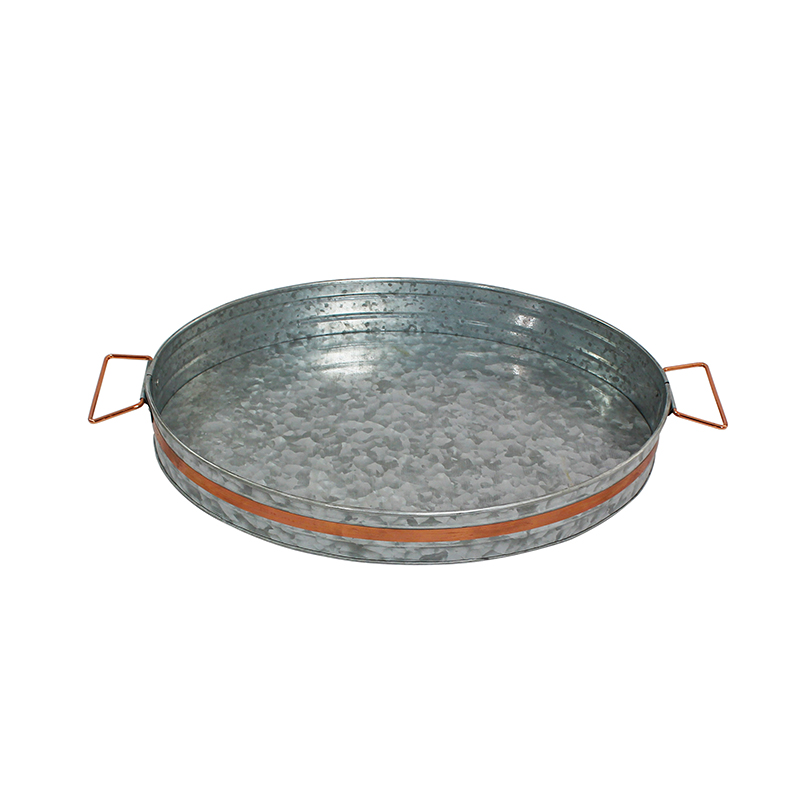 Galvanized Metal Round Kitchen Serving Tray With Handles