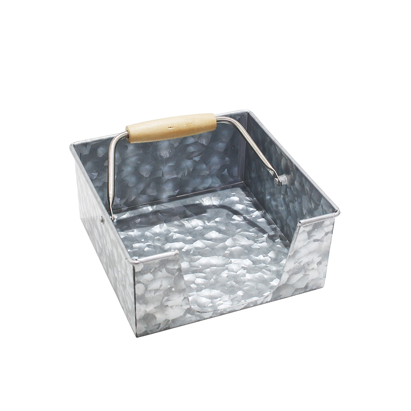 Galvanized metal napkin holder with woodle handle