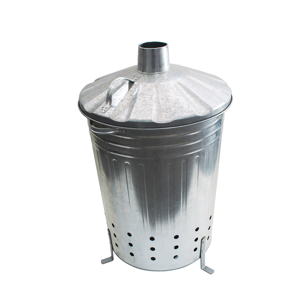 120L Garden wood rubbish leaves fire bin galvanized incinerator