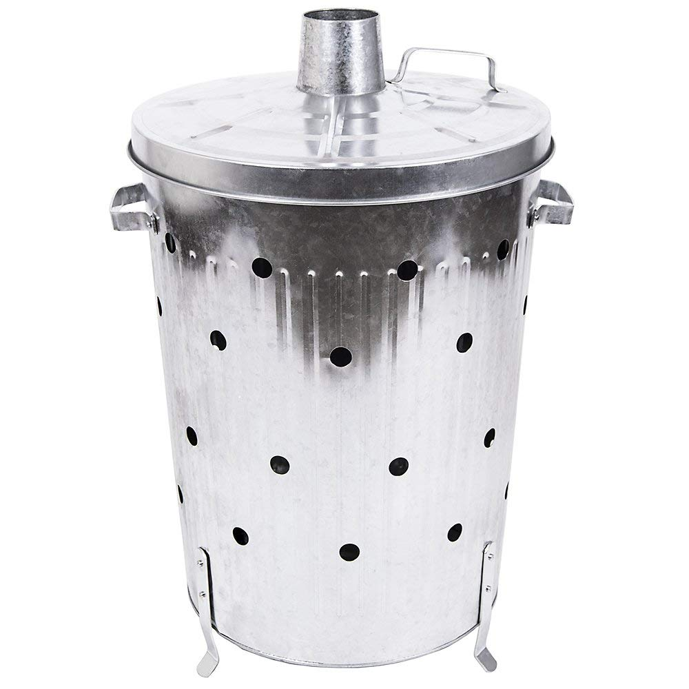 75l Galvanized Metal Dustbin Rubbish Paper Leaves Wood Waste burning bin