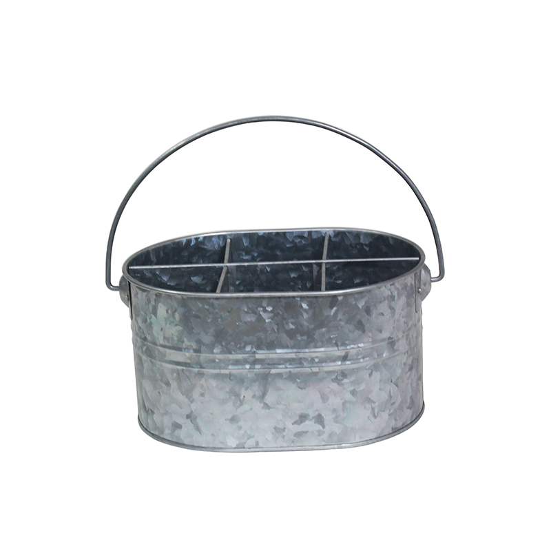 6 compartments galvanized metal wine caddy