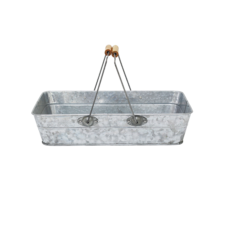 Vintage Rustic Galvanized portable metal tray with handles