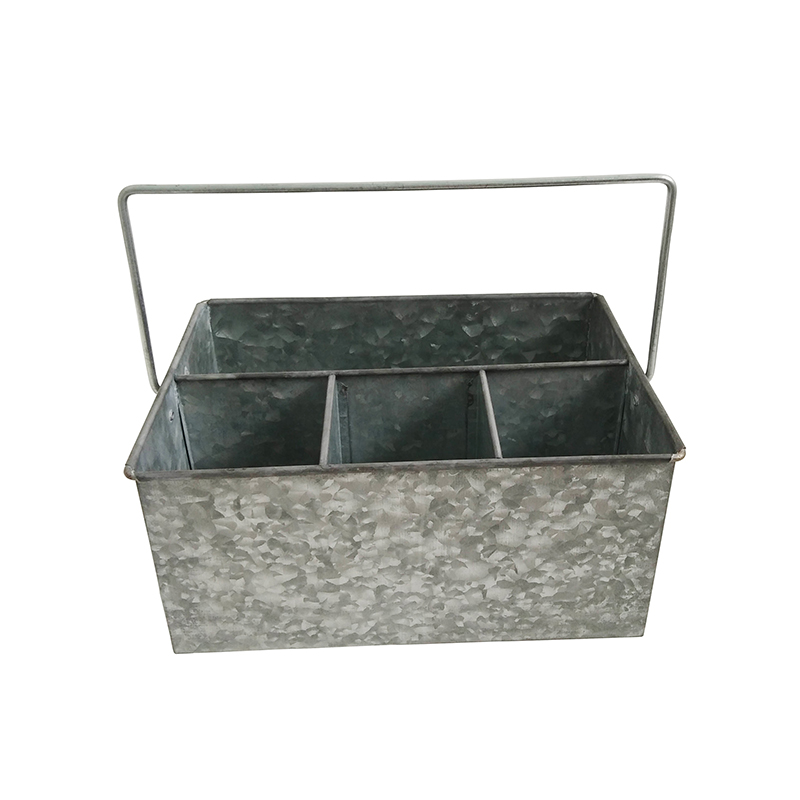 Galvanized Metal Carry Compartment utensil organizer caddy