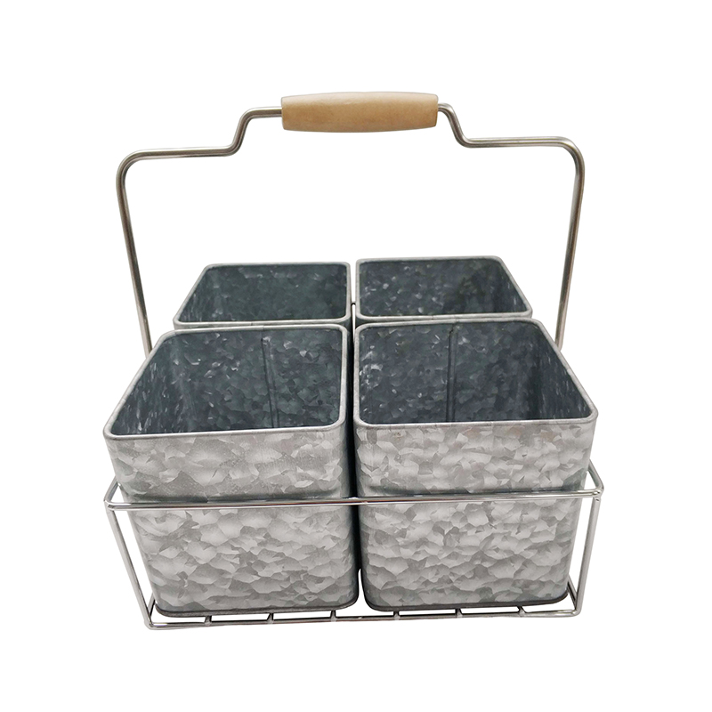 Galvanized Metal 4 tin containers Caddy Organizer