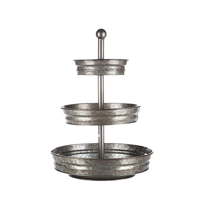 Outdoor Indoor Serveware Galvanized Round Metal 3 Tier Stand