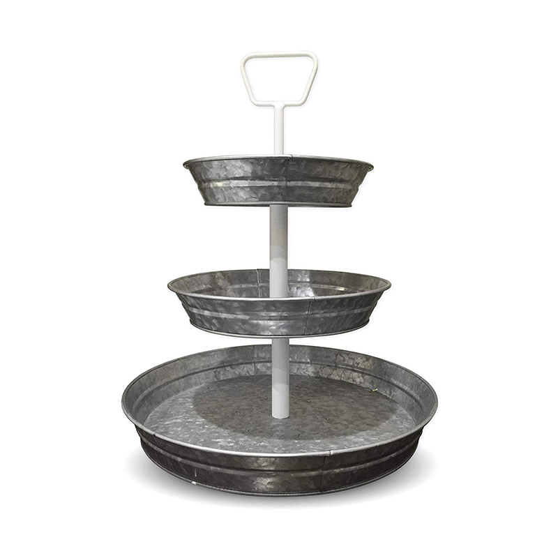 Galvanized Round 3 Tier Serving Trays with White Handle