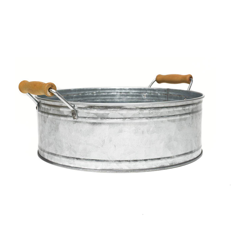 Galvanized Farmhouse Decor Round Metal Bucket Tray with Wooden Handles