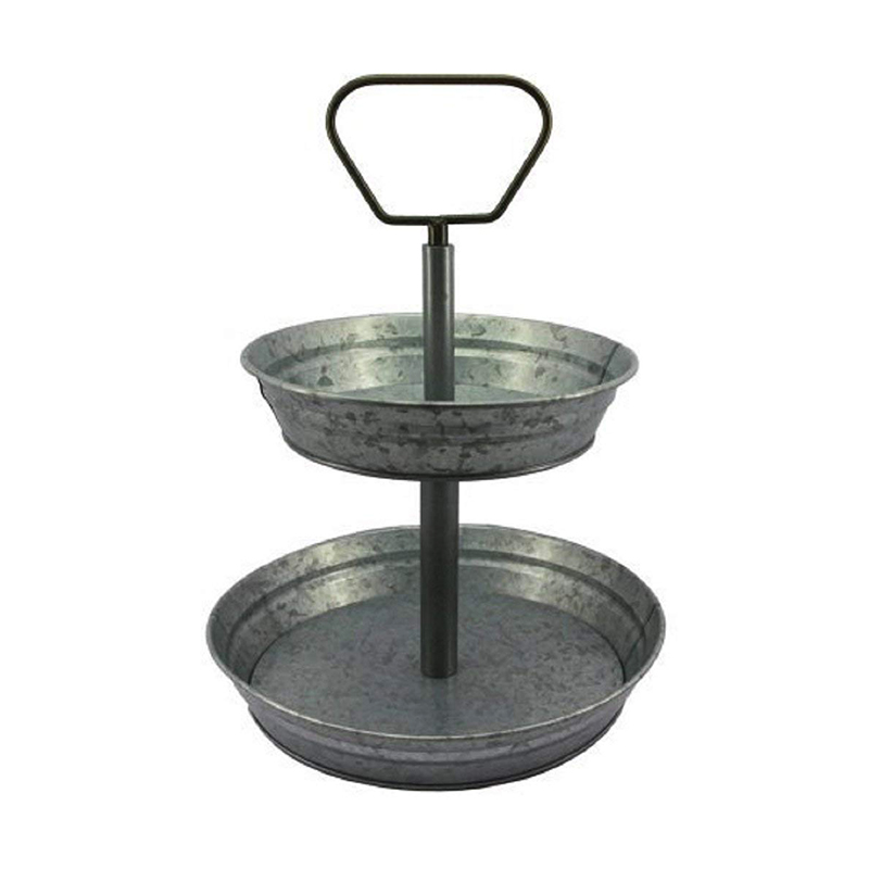 Galvanized Metal 2-Tier Round Stand Serving Tray