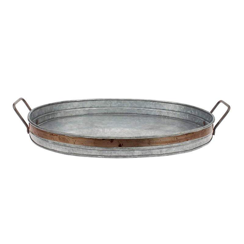 Galvanized Metal Serving Tray with Rust Trim and Metal Handles