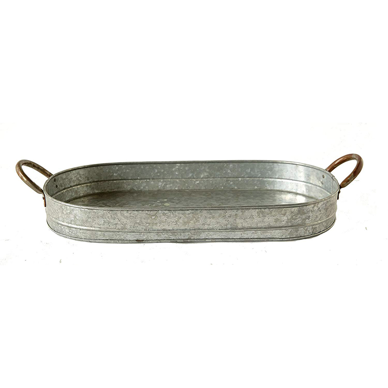 Country Style Galvanized Iron Tray with Ear Handles