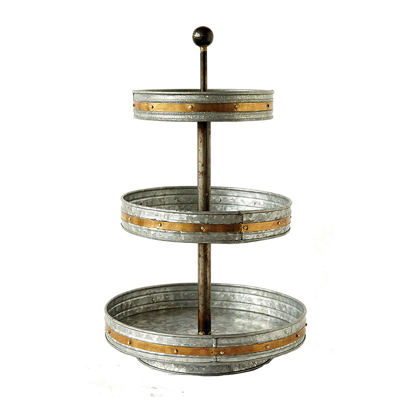 Silver & Gold Metal 3 tiered serving tray