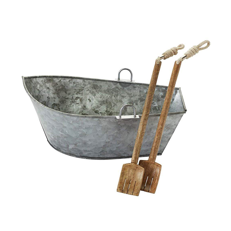 Galvanized Metal Sailboat Salad Serving Bowl with Oar Utensils