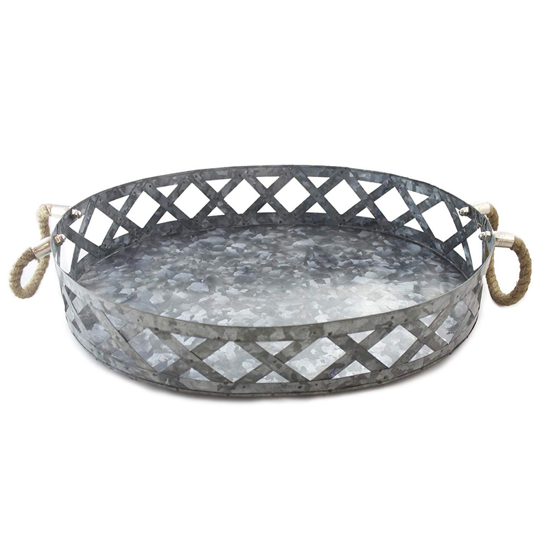 Galvanized Metal Farmhouse Rustic Decor Large Outdoor Round Serving Tray