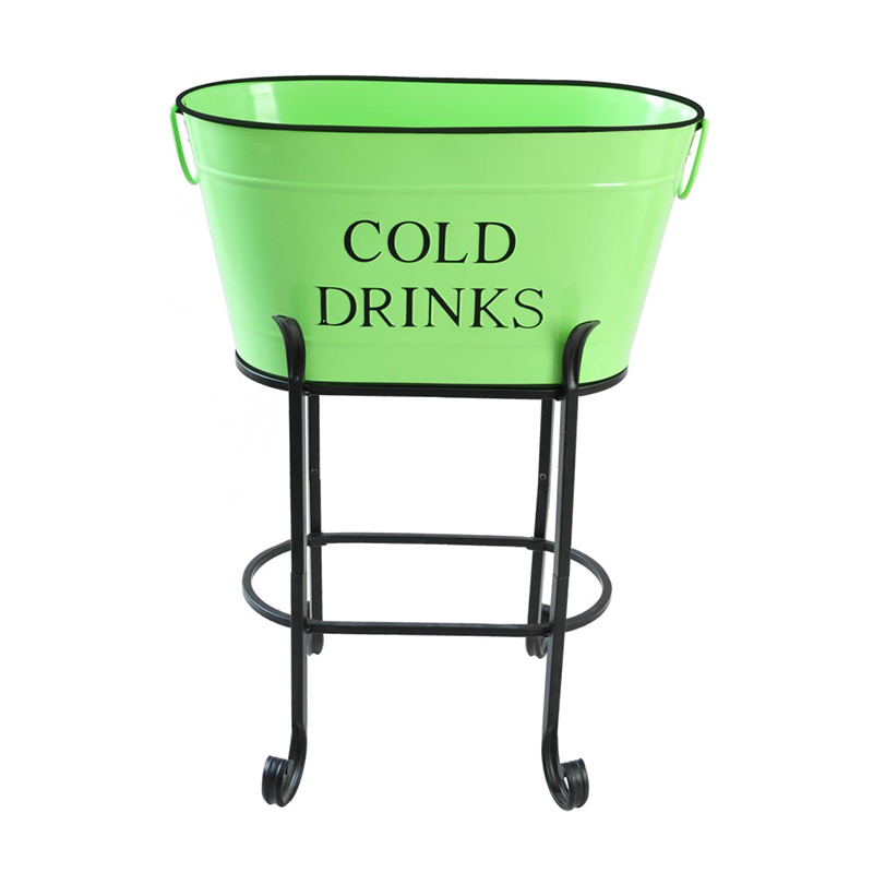Outdoor or Indoor Use Galvanized Beverage Tub with Stand