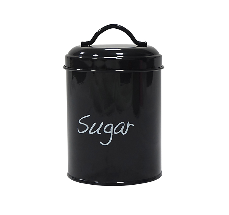 Hot sale round metal black sugar container