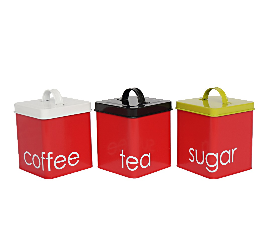 Metal square tea coffee sugar kitchen container set