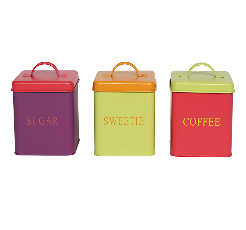 Square metal food storage vintage canisters tea coffee sugar sets