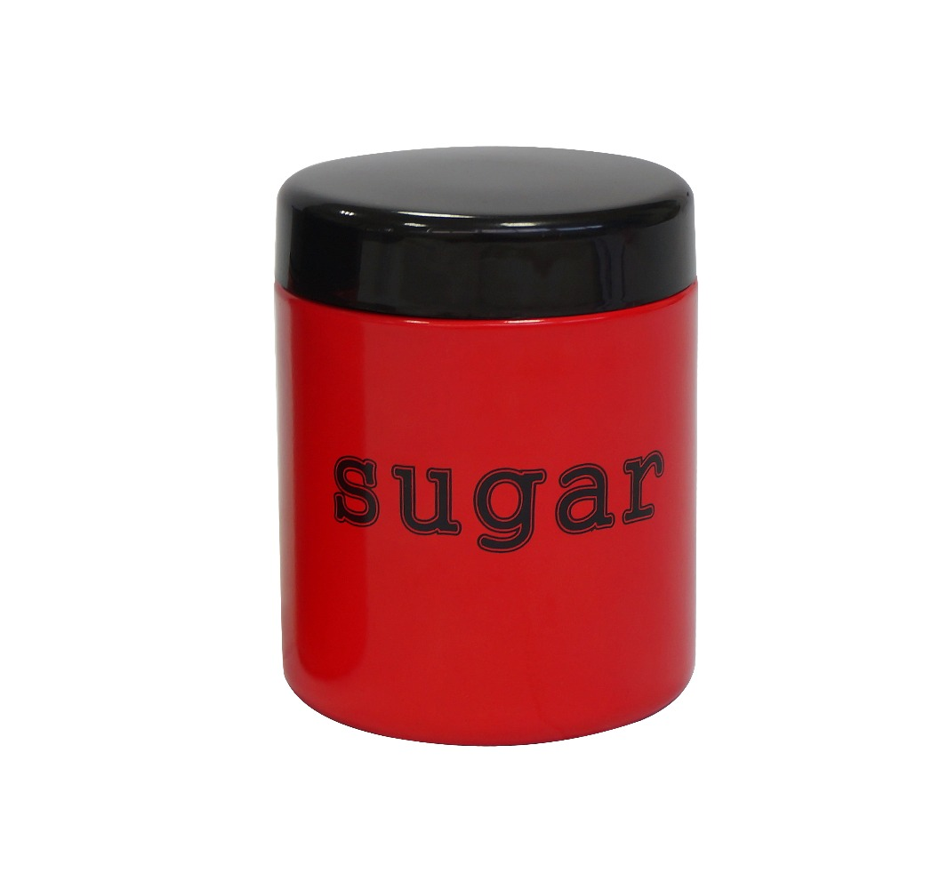 Hot sale metal sugar jar red canister set with lid