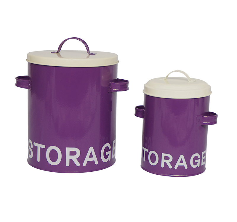 High quality power coated metal vintage canister sets