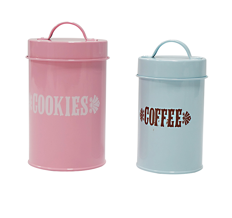 Metal containers cookies and coffee storage canisters