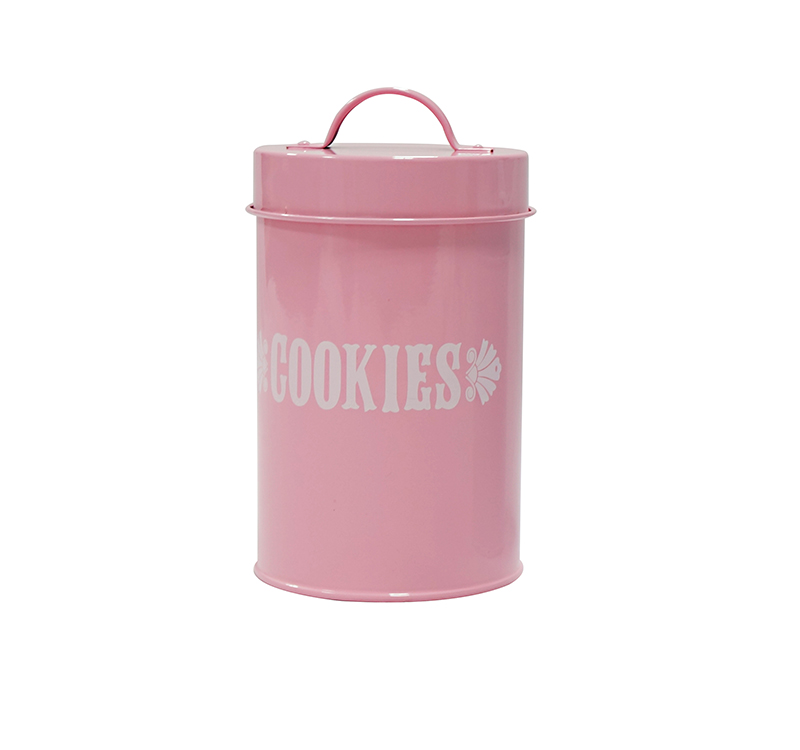 Pink round home kitchen use metal storage cookies container