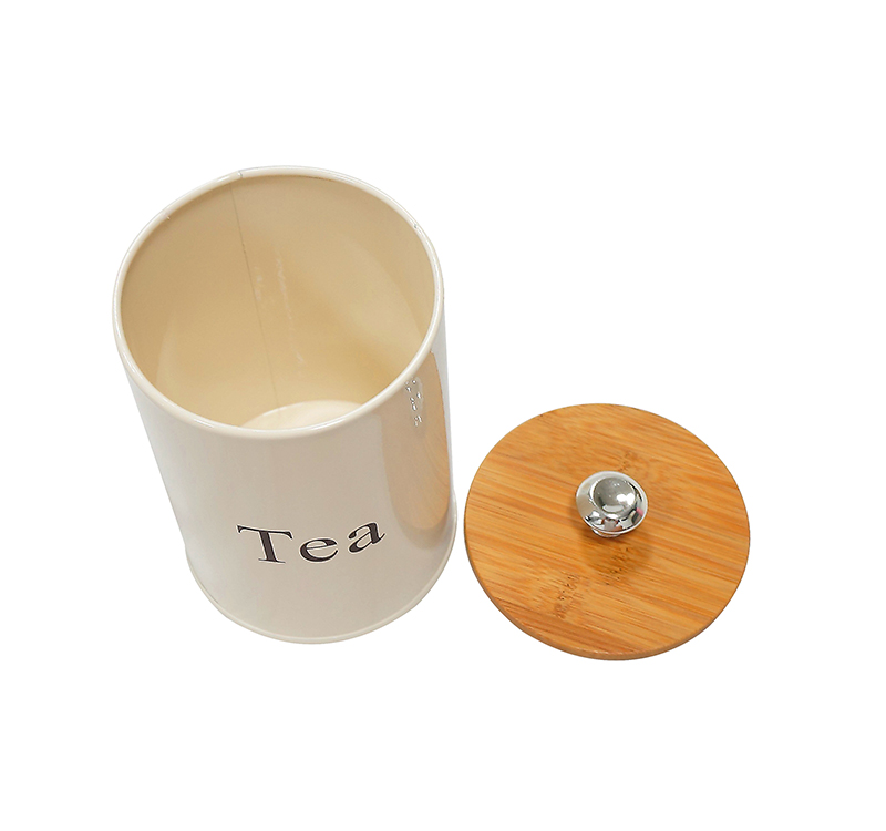 Galvanized metal tea white canisters with wood lid