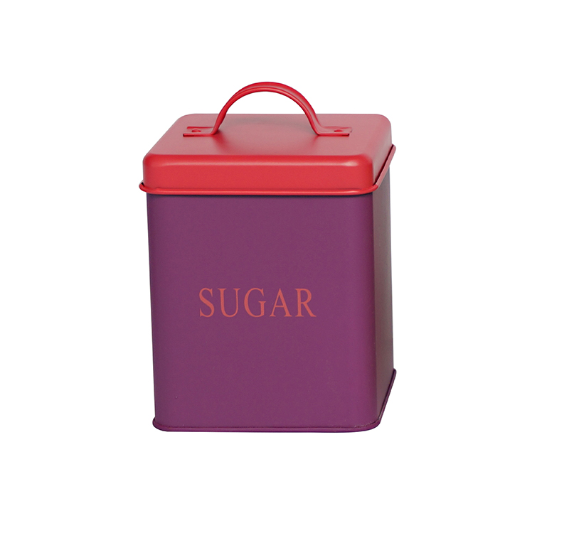 Metal square food safe kitchen sugar storage container