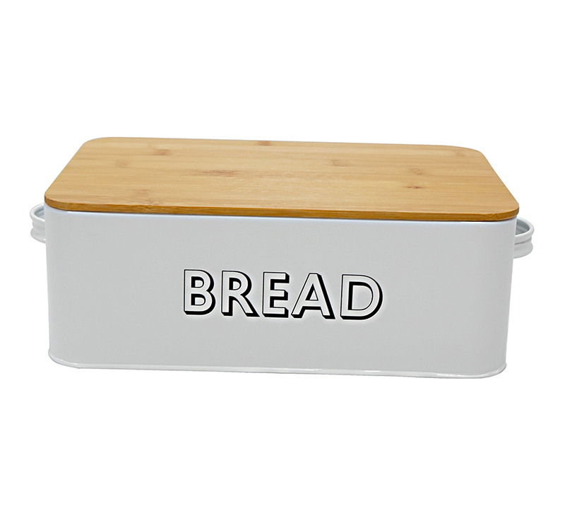 MIf garden brand hot sale metal white bread bin with wood lid