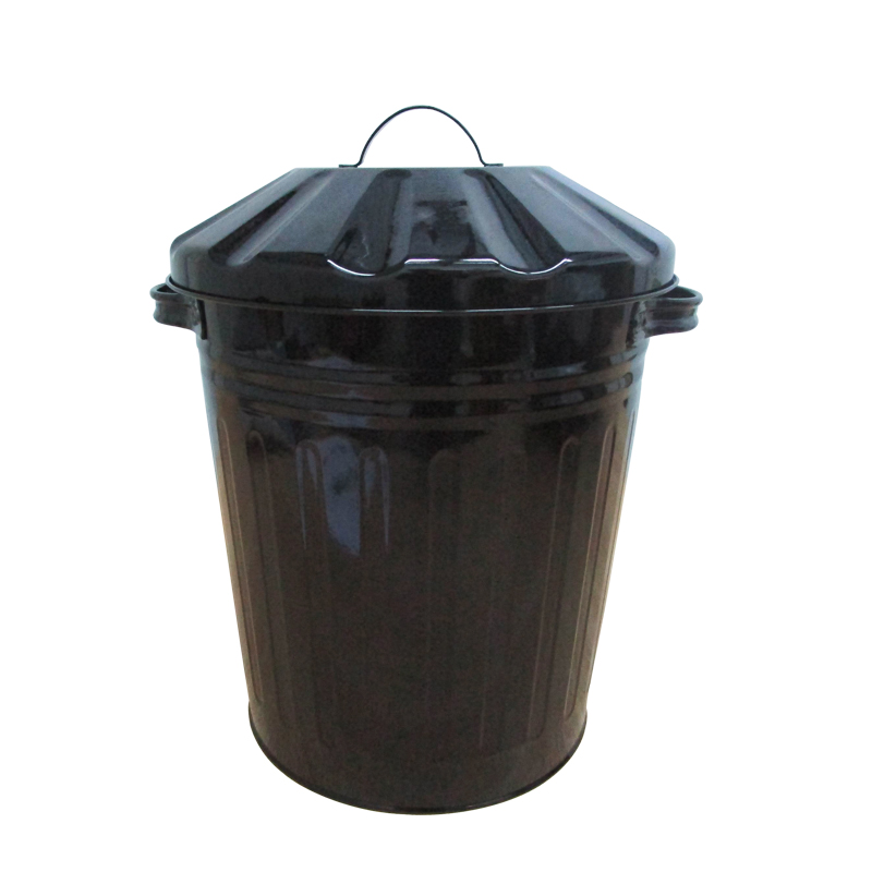 Black round 3 Gallon galvanized steel garbage can with lid