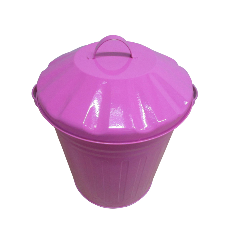 3 Gallon 12L custom muticolor pink metal steel garbage bin