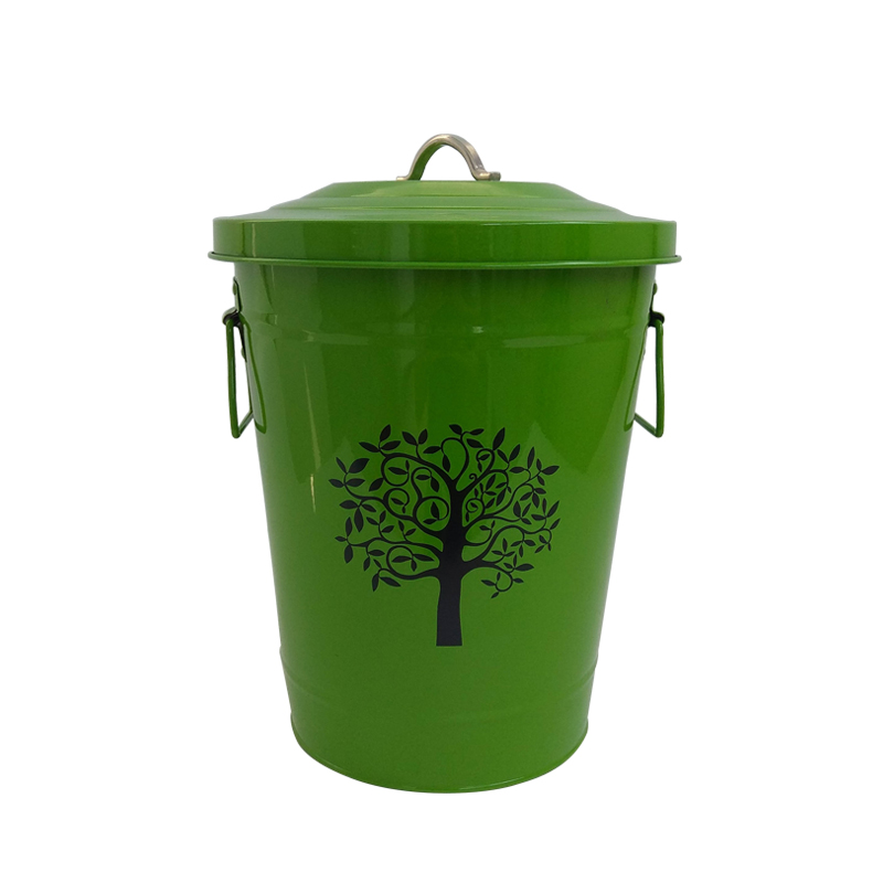 High quality home garden green galvanized metal trash containers