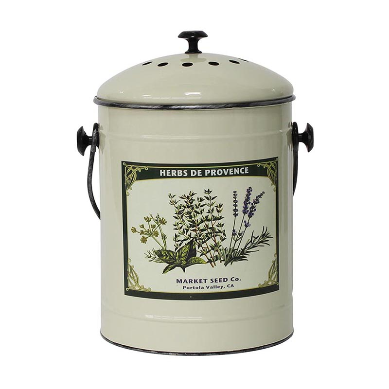 Vintage Powder Coated Steel Countertop Compost Bin Kitchen Pail With Lid