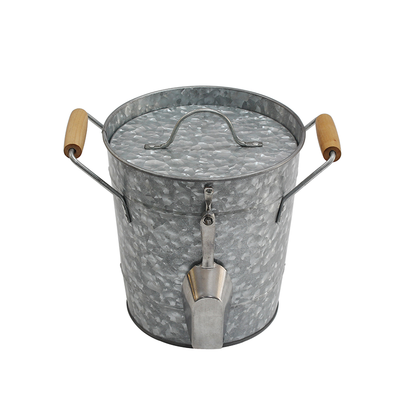 Metal Double Wall Drink Bucket With Lid And Scoop