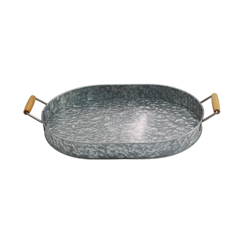 Gray Galvanized Metal Tray with wood Ear Handles