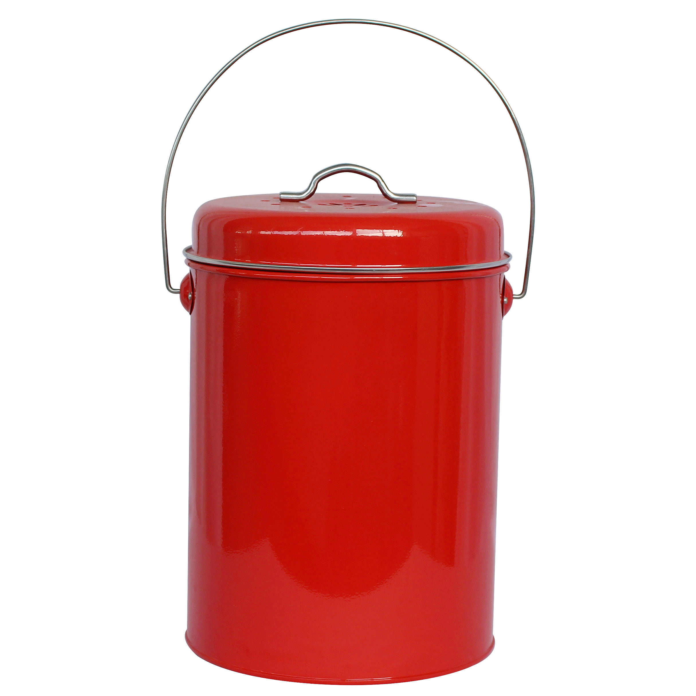 Red Metal Kitchen Countertop Compost Pail