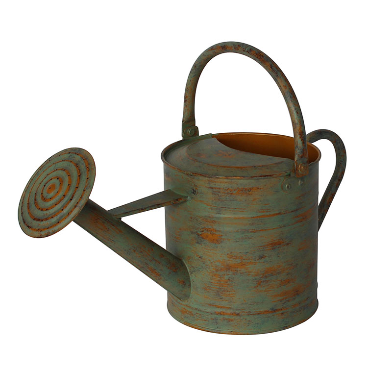 Antique Style Metal Old Finish Green & Gold Watering Can