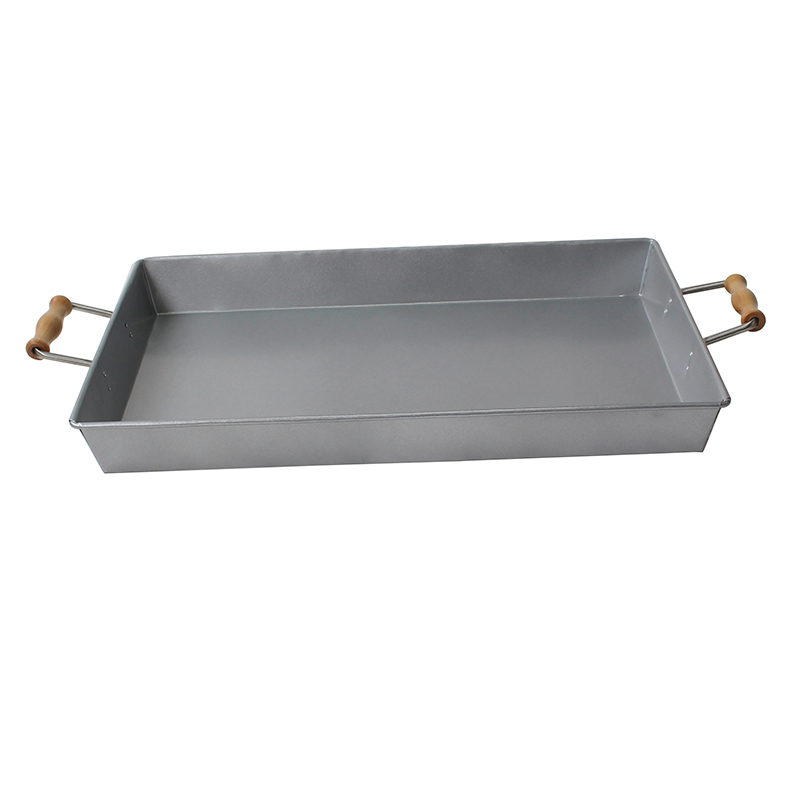 Stainless Steel Rectangle Silver Serving Trays With Wood Handle