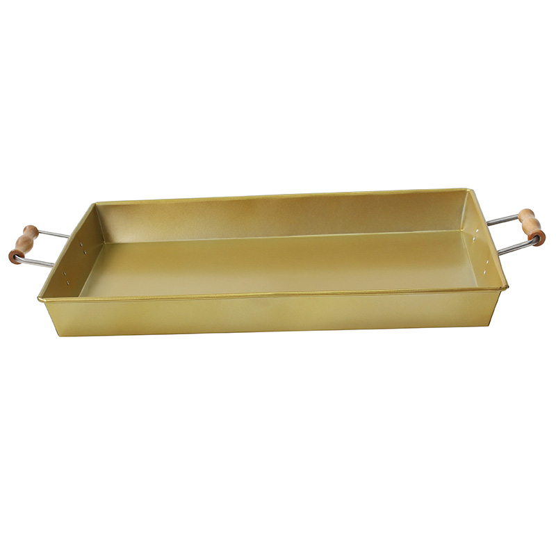 Stainless Steel Rectangle gold serving tray