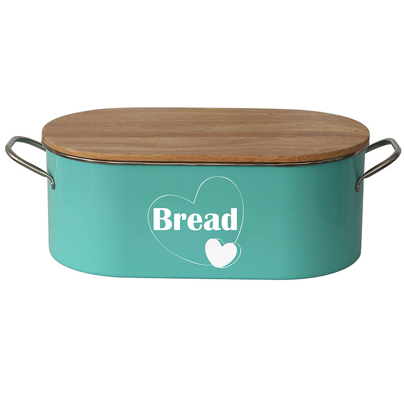 Vintage Metal Bread Box For Kitchen Counter with Bamboo Lid