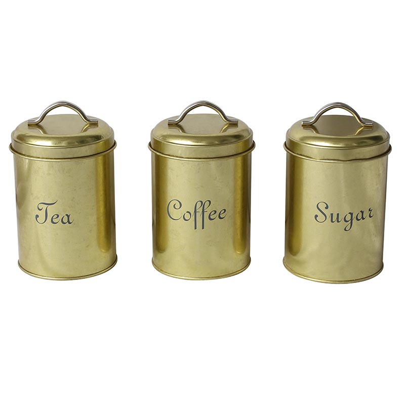 Metal copper finish food grade tea coffee and sugar canisters