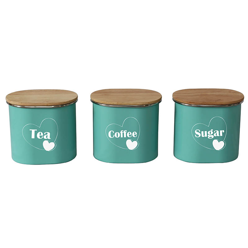 Set of 3 Metal Kitchen Food Storage tea coffee sugar containers