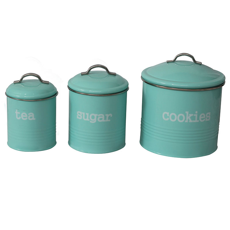 3-Piece Food Storage Metal Farmhouse Canister Set
