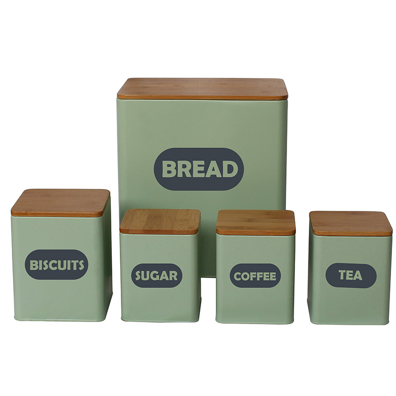 Hot Sale Metal Material Kitchen storage bread biscuit sugar coffee tea canister s