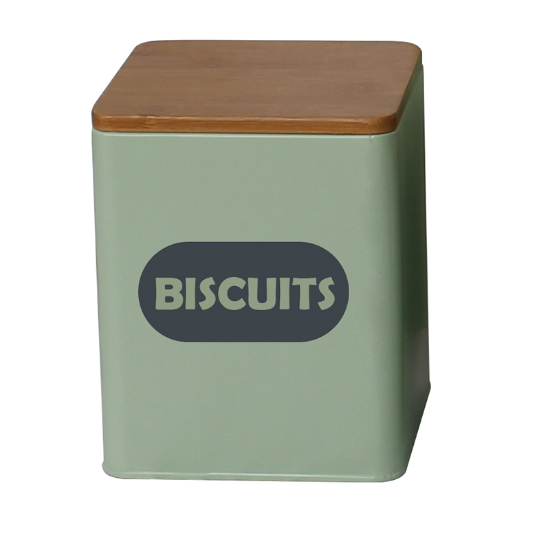 Square galvanized metal housewares kitchen biscuit tin